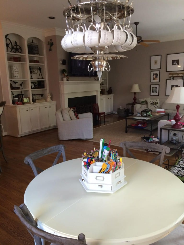 coffee tea party upcycled chandelier