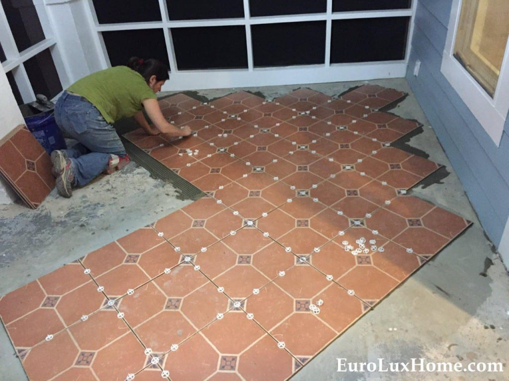 Tiling the cat porch