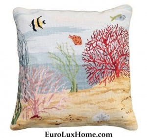 Coral Reef Ocean Needlepoint pillow