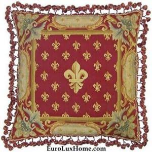 Red Handwoven Pillow Fleur de Lis