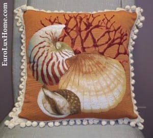 Orange shell throw pillow
