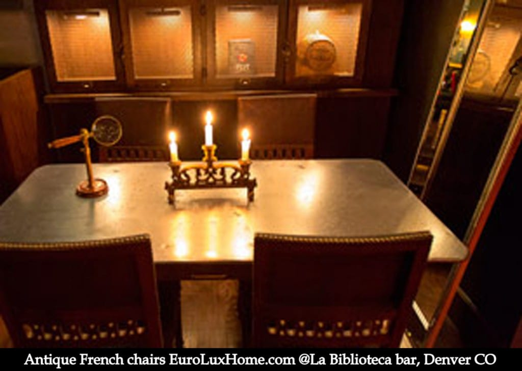 French Antique chairs in restaurant