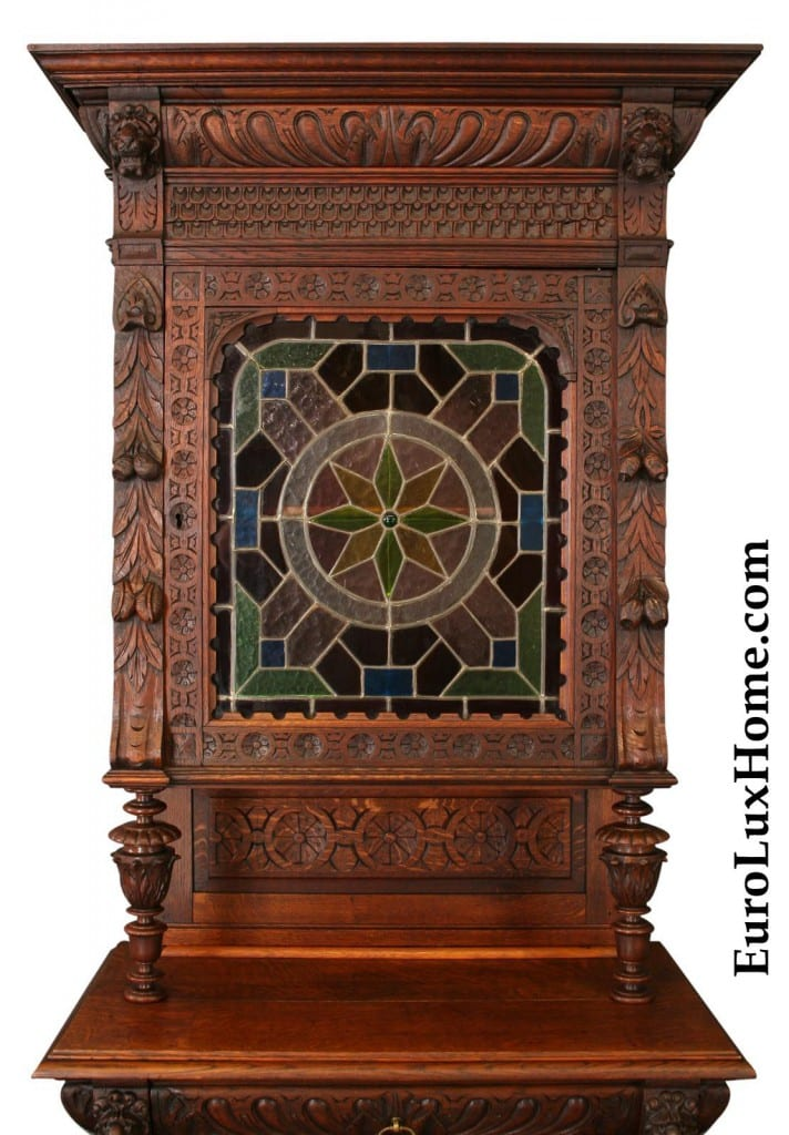 Antique Mechelen buffet stained glass