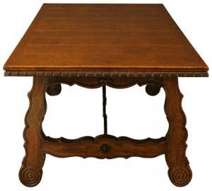 Parquet top vintage dining table