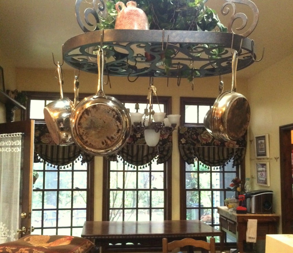 Vintage Renaissance Table and iron pot rack