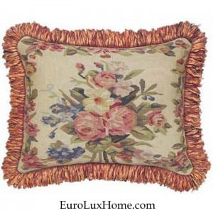 Aubusson Pink Blue Throw Pillow