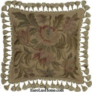Aubusson hand-embroidered throw pillow