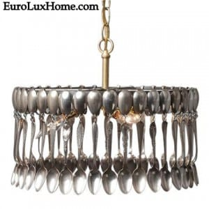 Silver Spoon Chandelier Pendant Light Fixture