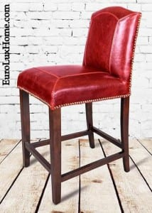 Red Leather Cloister counter stool