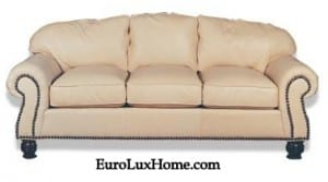 Top Grain cream leather sofa