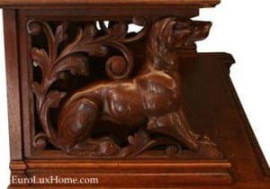 Carved dog antique french buffet