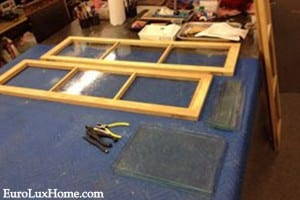 Glass doors from vintage cabinet