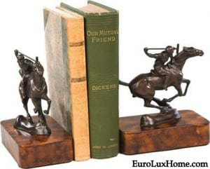 Polo horse player bookends