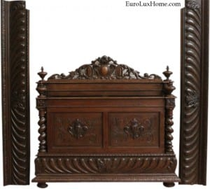 antique French Hunting Bed converted in size