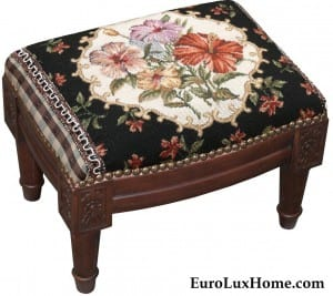 Hibiscus Foot Stool Hand Needlepoint Flower