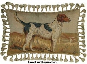 Aubusson Handwoven Throw Pillow Hunting Hound