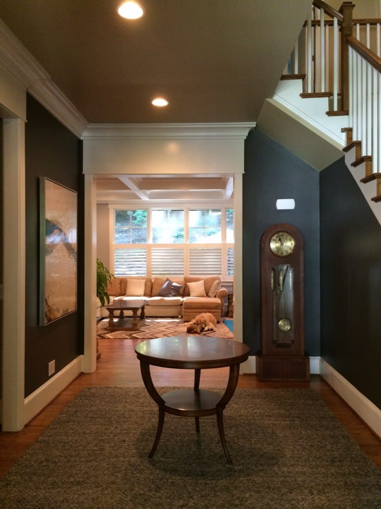 hallway with Jonathan Charles round accent table