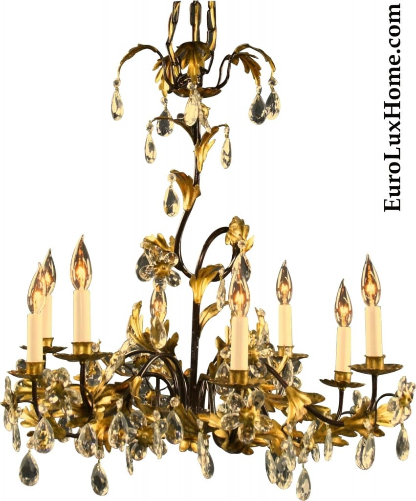 New Italian Chandelier Gold Crystals