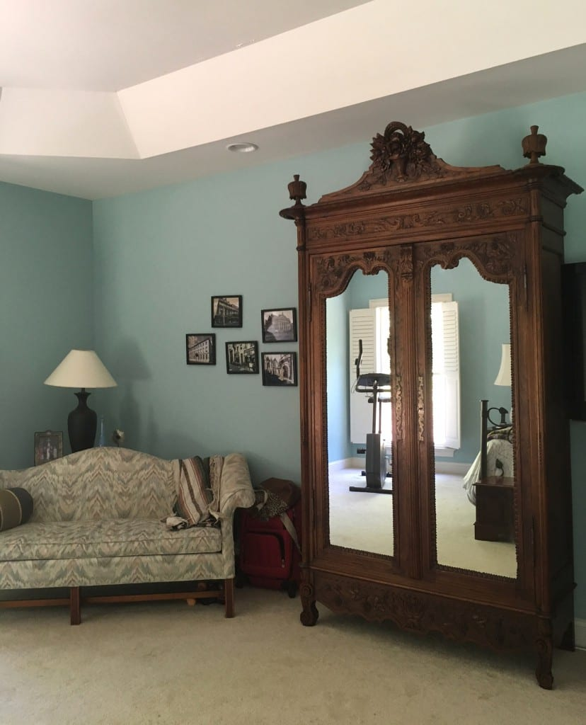 Antique French Provincial Armoire repurposed
