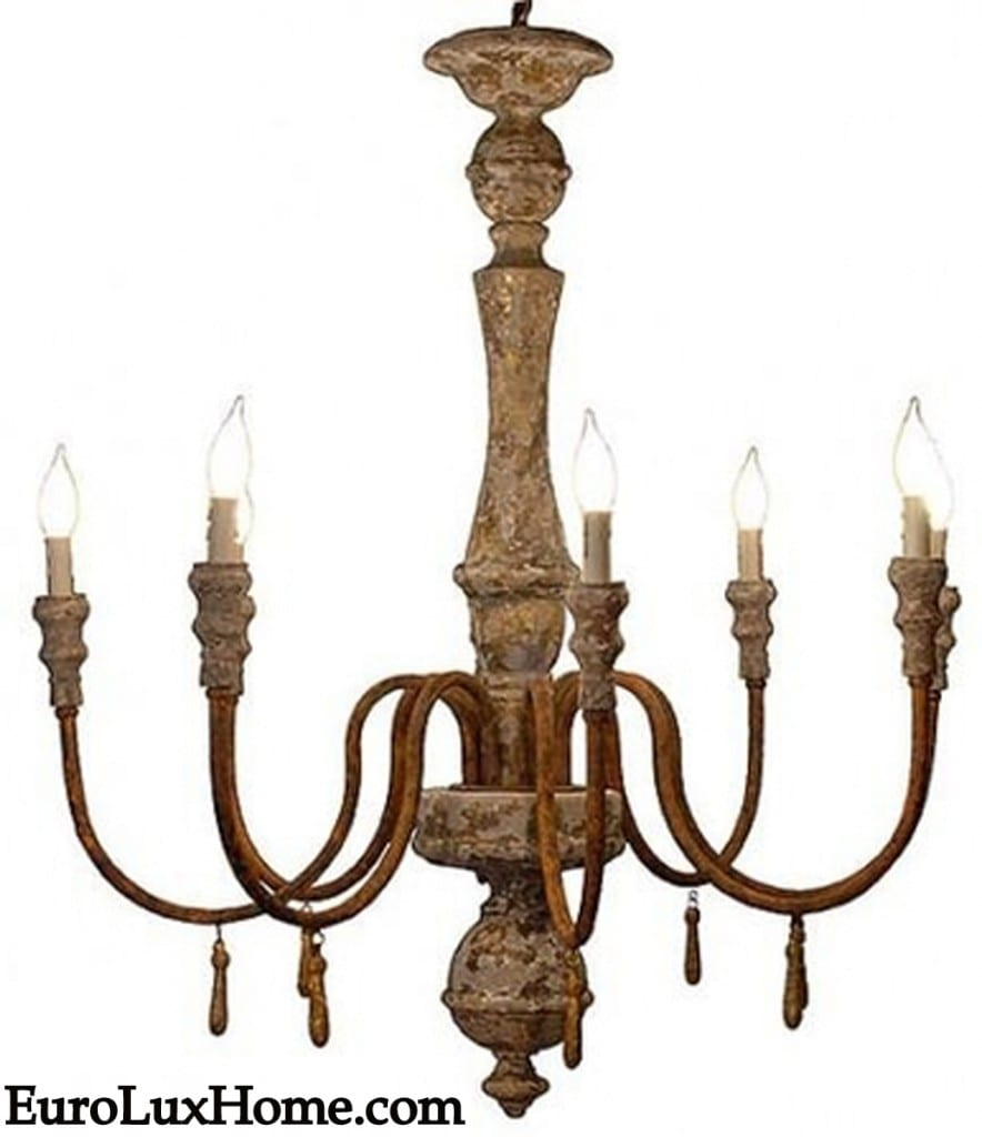 Oxidized iron chandelier