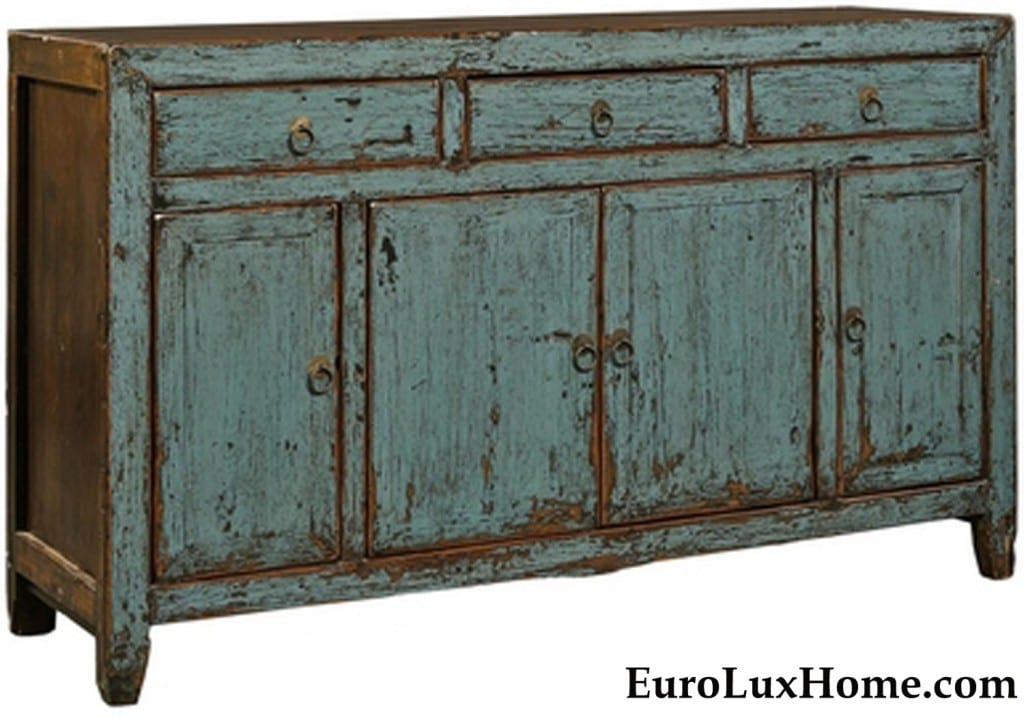 Rubbed Paint Sideboard Blue