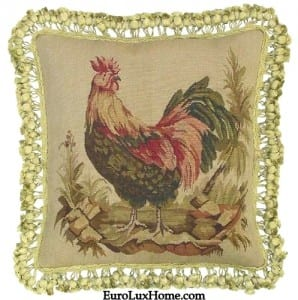 Rooster Aubusson Throw Pillow Handwoven