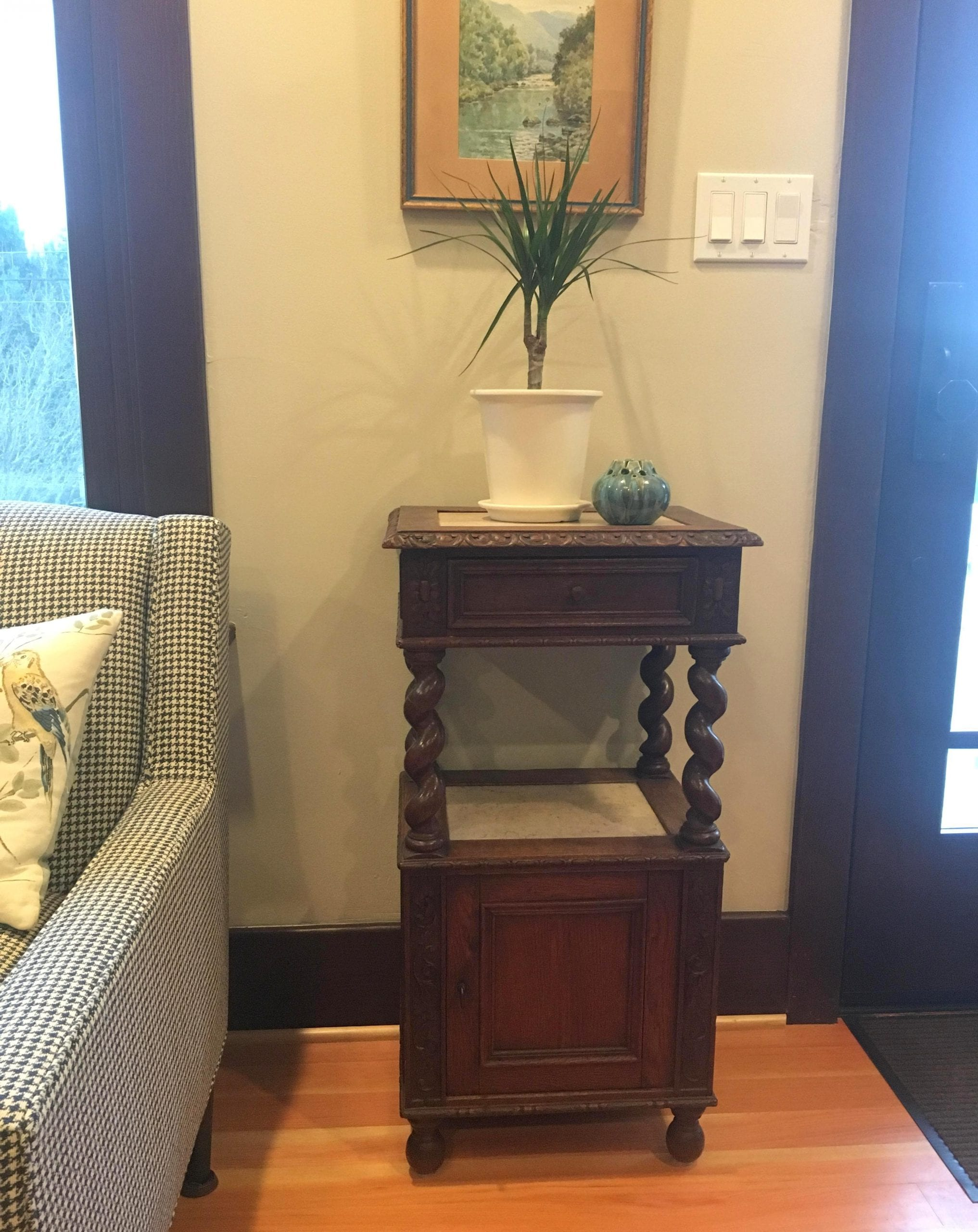 Antique French Hunting style nightstand