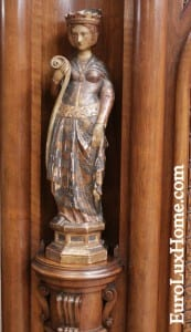 Carved statue antique buffet