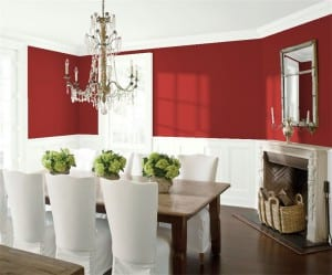 Benjamin Moore Caliente red dining room