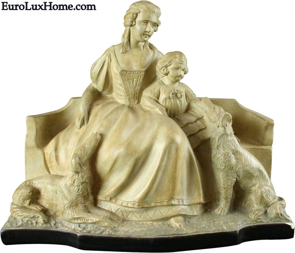 Mother Child Dogs statue