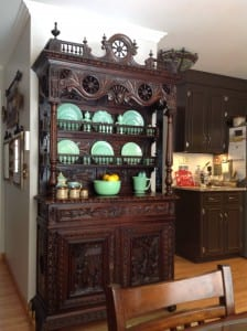 Antique French Brittany Buffet with Jadeite Fire King