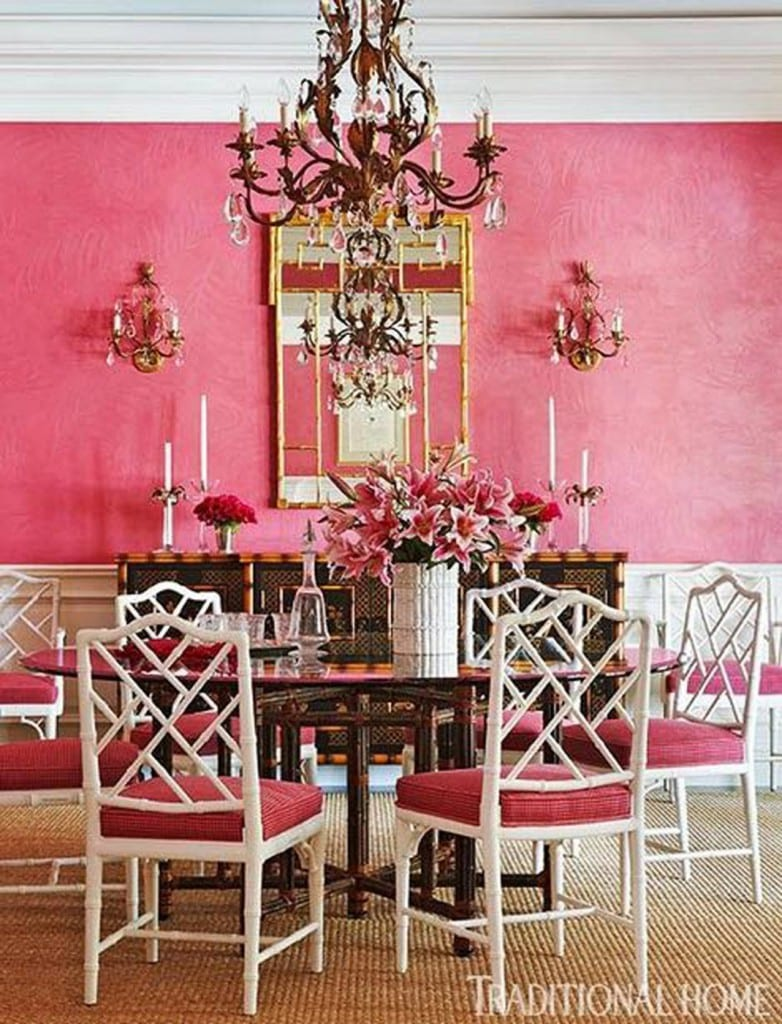 Pink Dining Room Traditional Home