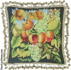 Aubusson Throw Pillow Fruits and Grapes