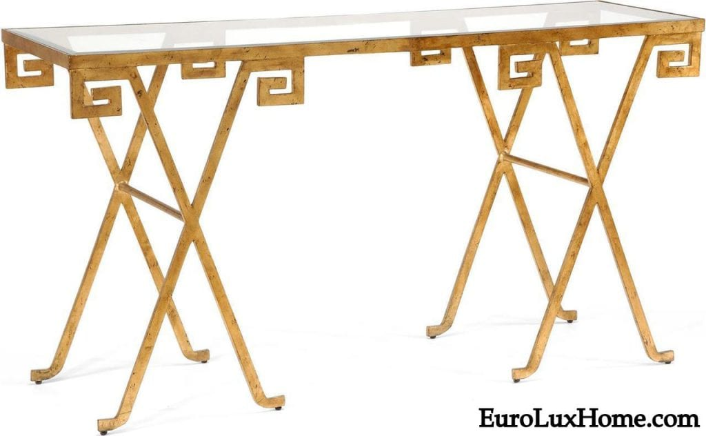 Chelsea House Console Table Gold Greek Key