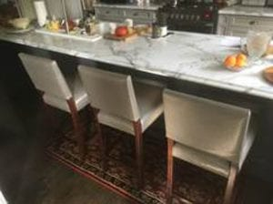 Gray Leather Counter Stools in Kitchen