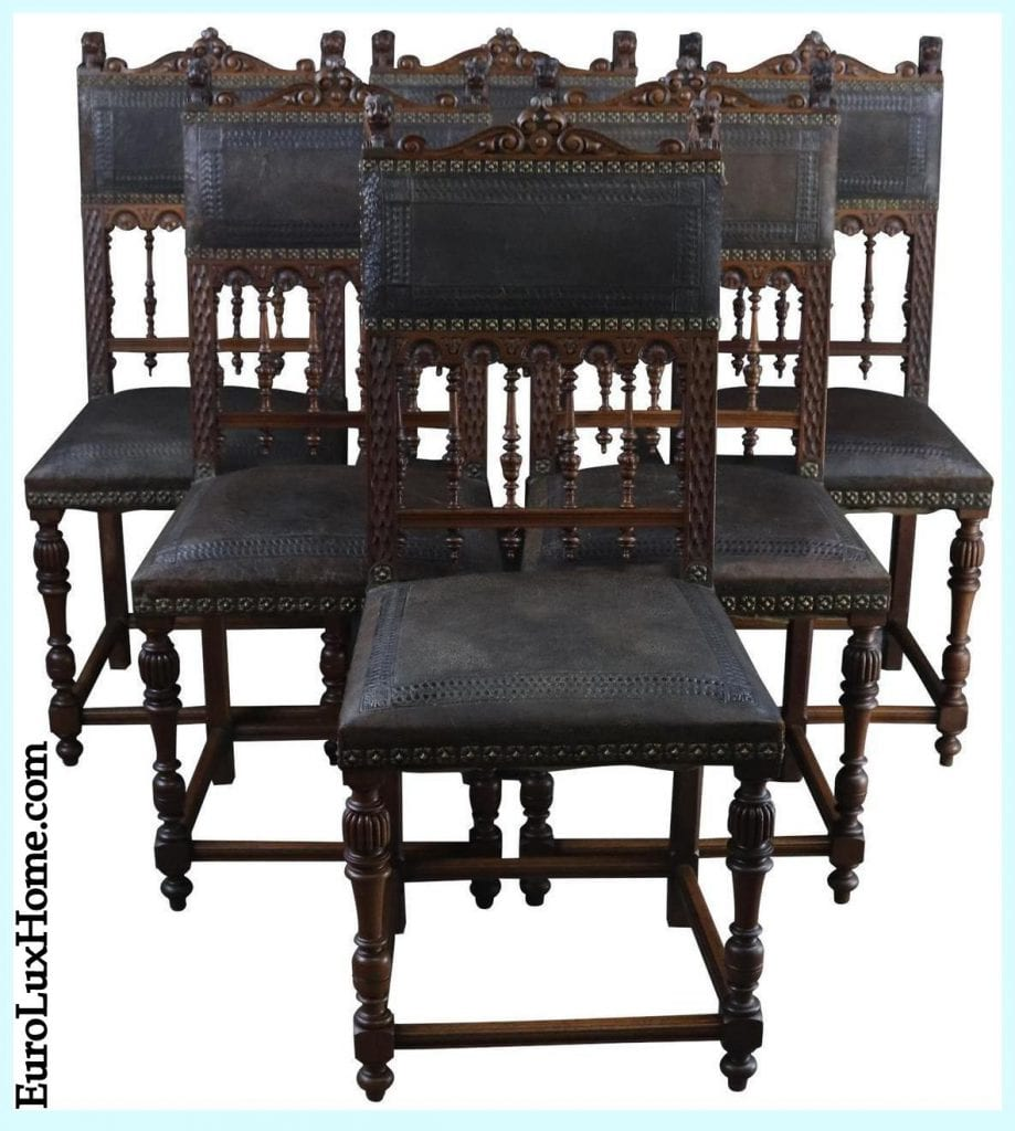 Antique French Henry II dining chairs