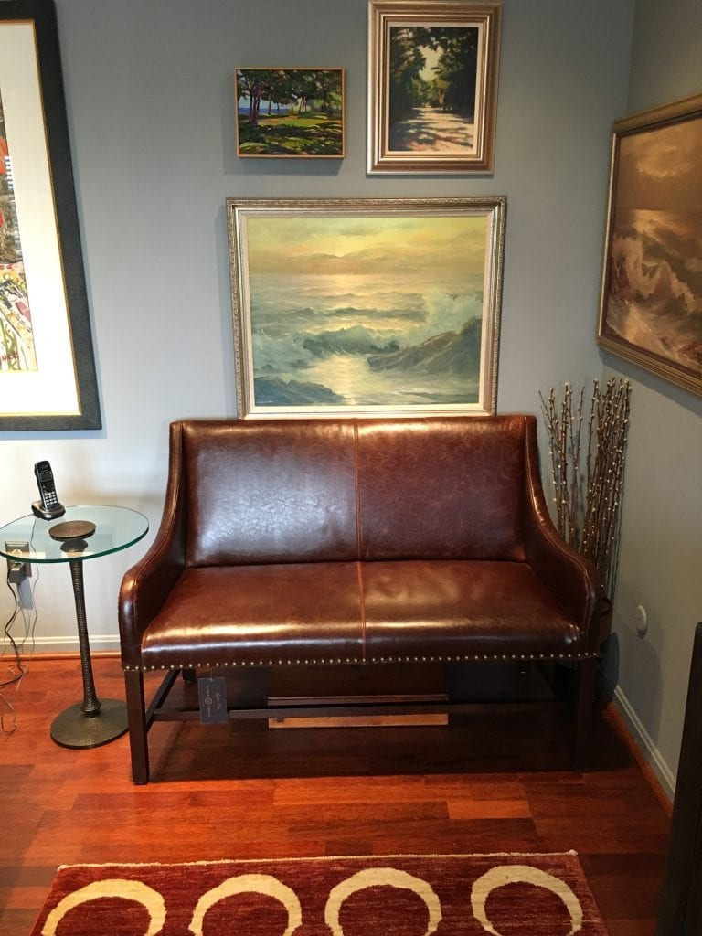 Leather settee nook