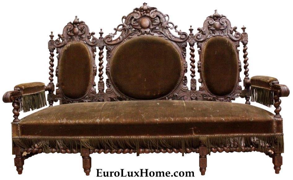 Antique French Hunting Sofa