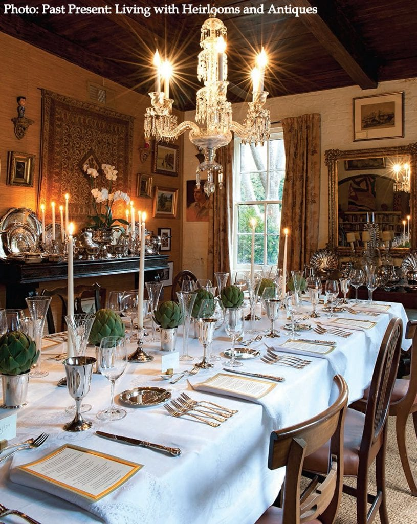 Formal dining room living with antiques