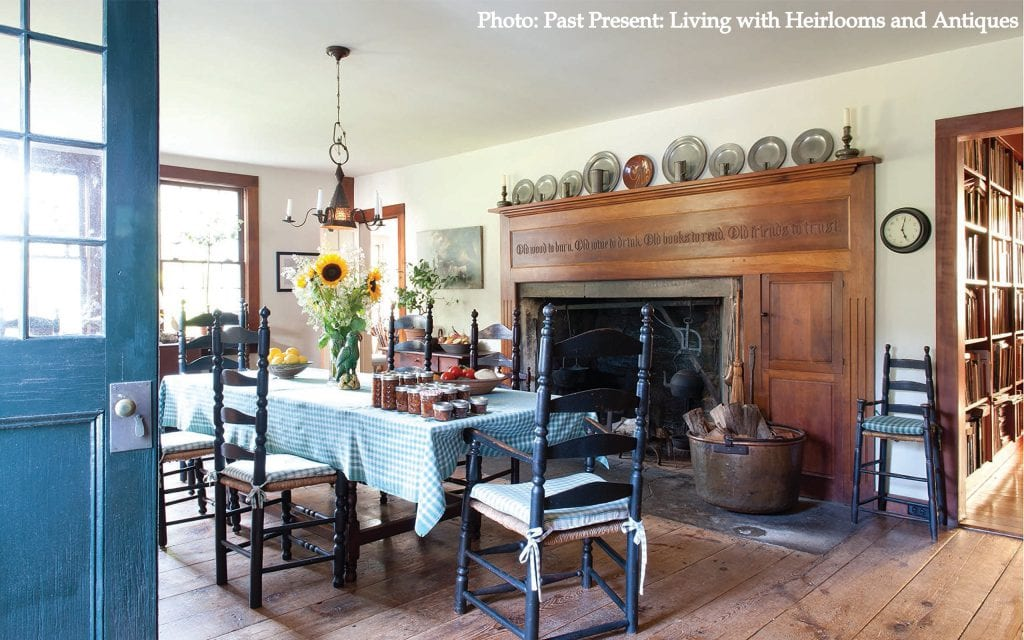Kitchen table living with antiques