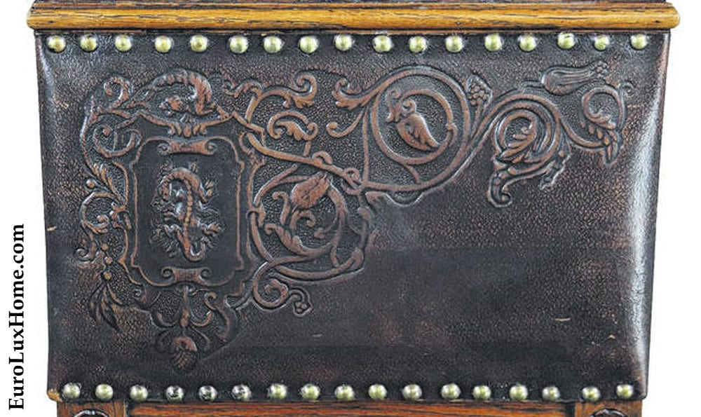 embossed leather on antique French Henry II dining chair