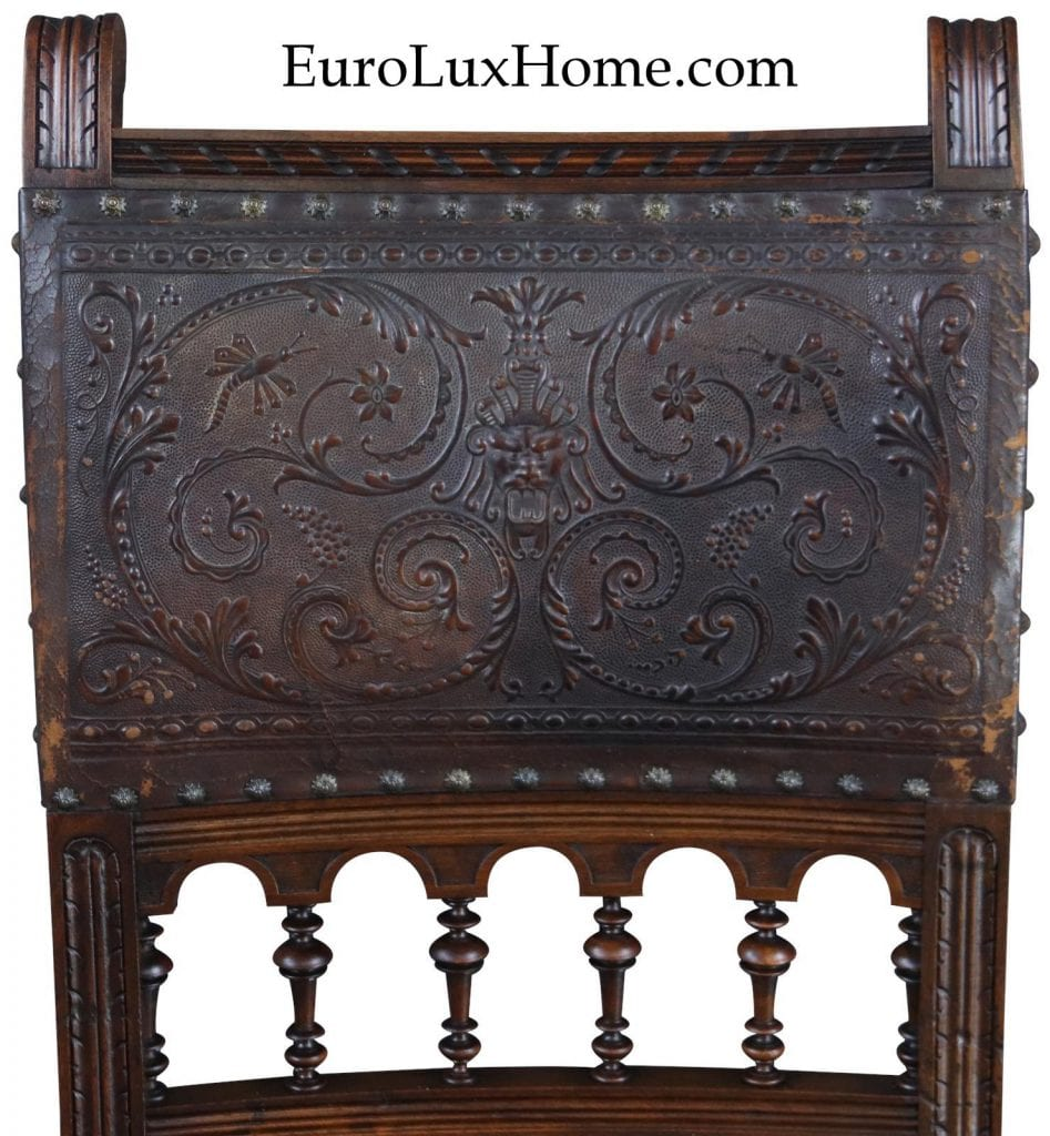 embossed leather on antique Henry II dining chairs